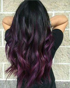 If I ever go dark – Purple Hair Hair Color Purple, Hair Color For Black Hair, Cool Hair Color, Hair Colors, Purple Hair Tips, Burgundy Hair Ombre, Black To Purple Ombre, Dark Hair With Purple, Dark Plum Hair