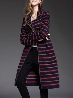 #AdoreWe #StyleWe Coats - NEDO Multicolor Pockets Stripes Long Sleeve Coat - AdoreWe.net