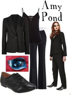 """Amy Pond from """"The Wedding of River Song""""    Boyfriend blazer, $40KATE HILL flat front pants, $42Lace camisole, £21Miss Me oxford shoes, $25Strapless Eyepatch a la Doctor Who eye drive, $18"""