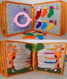 Handmade Quiet Book, Busy Book, Activity Felt Book, Montessori Toy, Children's Book – Baby Development Tips Diy Quiet Books, Baby Quiet Book, Felt Quiet Books, Diy Baby Books, Toddler Gifts, Toddler Toys, Baby Toys, Baby Baby, Kids Toys