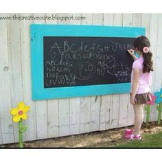 Outdoor Chalkboard, definitely going this Backyard Play, Backyard Projects, Outdoor Projects, Backyard Patio, Backyard Landscaping, Backyard Ideas, Diy Projects, Outdoor Chalkboard, Chalkboard Paint