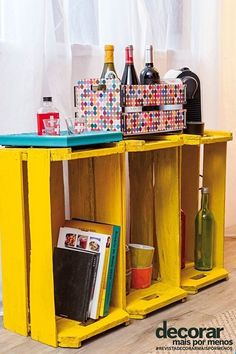bright yellow rustic crates as shelving