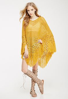 Fringed Open-Knit Poncho | FOREVER21 - 2049258959