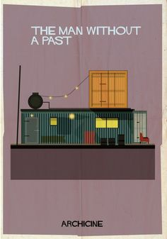 ARCHICINE: Illustrations of Architecture in Film - Federico Babina / The Man Without a Past. Directed by Aki Kaurismäki