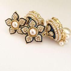 Rani Jhumki Indian Earrings  Lashkaraa Jhumki Earrings, Indian Earrings, Ring Earrings, Indian Jewelry, Jewelry Design Earrings, Fashion Earrings, Jewelry Box, Jewelery, Pearl Design