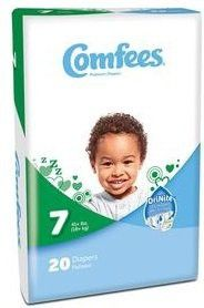 Comfees® Disposable Baby Diaper for Newborn with Tab Closure Size7, Over 41 lbs CS/80