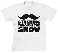 Youth Staching Through the Snow T-Shirt Funny Mustache Shirt For Kids