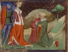 Edmund FitzAlan and Hugh Despenser the Elder before Queen Isabella. The Queen executed them both for siding against her before she took over the English throne with her lover Roger Mortimer (from her husband Eward II). She and Roger were regents for her son Edward III. Edmund, Edward II & III, Mortimer, and Isabella are my ancestors.