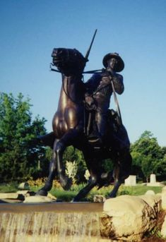 """Buffalo Soldiers Memorial  """"Buffalo soldiers"""" became the nickname of the black members of the 10th Cavalry Regiment of the U.S. Army in 1866, who are remembered most for their bravery and courage from the Civil War to World War II. Several monuments exist in their honor, including two in Kansas, where the original regiments were first formed. This one, commissioned by Gen. Colin Powell, was erected in 1992 in Leavenworth, Kan. The life-size statue illustrates a determined armed soldier…"""