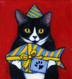 Tuxedo Cat original oil painting. Charlie and The Mystery Gift by Heidi Shaulis