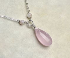 Pink Chalcedony Necklace on Sterling Silver Silver by CircesHouse