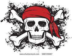 Pirate skull, red bandana and bones in grunge style