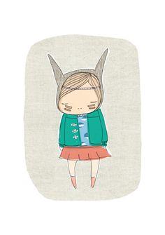 Nursery Art - Little Indian Warrior Girl - Bunny-  Art Print 8x10 Children's Room.  via Etsy.