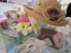Elegant Hat Centerpieces | Tea With Friends: Teawares at the Fashion Luncheon