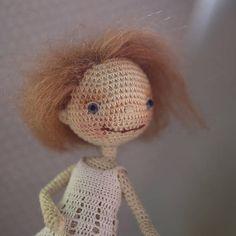 OOAK collectible crochet art girl doll dressed handmade doll