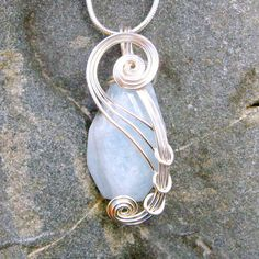 Aquamarine Wire Wrapped Pendant Necklace in Silver  by CareMoreCreations.com, $53.00