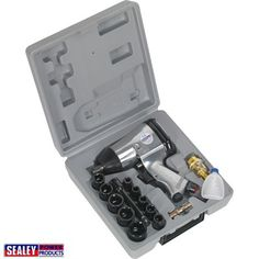 Kit of tools comprising drive rocking-dog air impact wrench, extension bar and ten drive WallDrive® Chrome Vanadium impact sockets. Kit also includes in-line air oiler and air tool oil. Supplied in carry-case. Man Cave Gifts, Impact Wrench, Air Tools, Chrome, Workshop, Kit, Storage, Bride Tshirts, Ebay