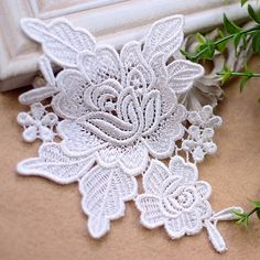 2 Venice Flower Lace Applique Ivory Bridal Lace by LaceDecoration