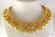 ilias Lalaounis Style Greek Hellenistic Acorn, Star & Disc Bull's Head 22k Necklace
