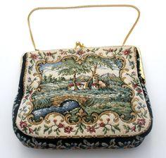 Vintage Delill Petit Point Handbag Coin Purse Coke Mirror