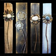 Creative DIY Home decor made with pebble art, more flower ideas on drift wood. - Home Decoration and Diy Discover thousands of images about Pallet Art masterpiece. It's a rock art DIY project that's easy to make Rock flowers - adorable on old barn wood; Rock Yard, Caillou Roche, Art Pierre, Rock Flowers, Shell Flowers, Unique Flowers, Art Flowers, Metal Flowers, Old Barn Wood