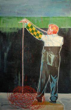 Nicky Nodjoumi, Iran: Red Macaroni  Oil on canvas   244 x 152.5 cm, 2010