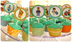 lego cupcake toppers - birthday cake