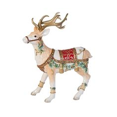 Fitz and Floyd Hand Painted Yultide Holiday Deer Figurine