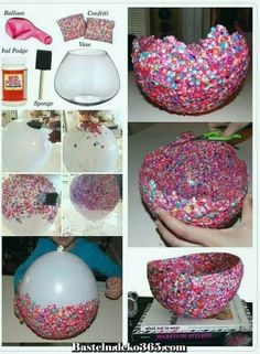 Fun crafts, diy arts and crafts, diy confetti, confetti basket, diy f Diy Arts And Crafts, Diy Crafts For Kids, Crafts To Sell, Fun Crafts, Paper Mache Crafts For Kids, Diy Crafts For Bedroom, Mod Podge Crafts, Kids Diy, Creative Crafts