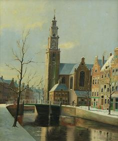 Jacobus Lambertus Dispo, Sr. (Dutch, 1890-1964). A Dutch canal scene in winter. Oil on canvas