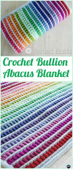 Crochet Stitches Crochet Bullion Stitch Abacus Blanket Pattern - Crochet Bullion Stitch Free Patterns - Crochet Bullion Stitch Free Patterns: Bullion Stitch Flowers, Square, Coasters, Blankets, fingerless gloves and video instruction Crochet Diy, Crochet Afgans, Love Crochet, Knit Or Crochet, Crochet Crafts, Crochet Projects, Scarf Crochet, Afghan Crochet Patterns, Crochet Stitches