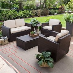 Coral Coast Berea Wicker 4 Piece Conversation Set With Storage   Upgrade  Your Patio To An