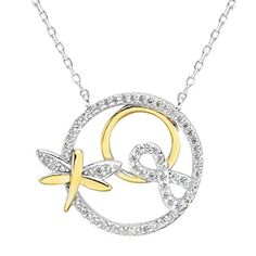 EVER FAITH 925 Sterling Silver CZ Elegant Figure 8 Infinity Dragonfly Pendant Necklace Clear GoldTone >>> Click on the image for additional details.(This is an Amazon affiliate link)