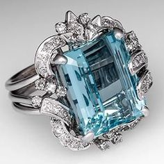 Vintage Natural Aquamarine Cocktail Ring w/ Diamond Accents 14K White Gold