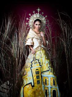 Binibining Pilipinas National Costume 2019 - for urban women Fashion Design Drawings, Fashion Sketches, Manila, Filipino Debut, Philippines Dress, Modern Filipiniana Gown, Sinulog Festival, Filipino Fashion, Spanish Dress