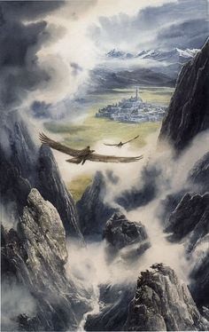 File:Alan Lee - Húrin and Huor are Carried to Gondolin. Alan Lee, Jrr Tolkien, Tolkien Books, Middle Earth Books, John Howe, O Hobbit, His Dark Materials, Fantasy Castle, Thranduil