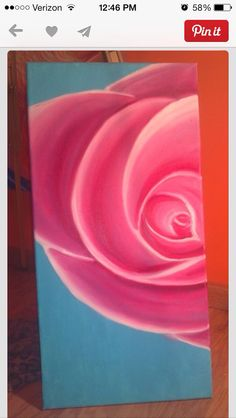 Pink rose on canvas made with oil paints. For sale/can make more by SaraRodgersArtwork on Etsy