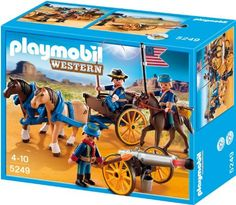 Horse-drawn Carriage with Cavalry Rider by Playmobil. $21.00. Travel to the local fort on the Horse-Drawn Carriage with Cavalry Rider. Set includes three figures, three horses, carriage with moveable wheels, functioning cannon, and other accessories.