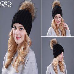 12.50$  Watch now - http://ali93j.shopchina.info/go.php?t=32253169189 - IFINITLOVE Women's Winter Warm Crochet Genuine Fur Ball Knitting Hats Beret Beanie Caps (Adjust Size:57-60cm) 12.50$ #SHOPPING