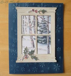 memory box die card ideas | Memory Box window die used with a 'recycled' Christmas card, Snowflake ...