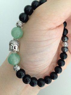 Men's bracelet, serene Buddha with green aventurine, hematite and black onyx, calming, zen jewelry, healing stones on Etsy, $31.44 CAD