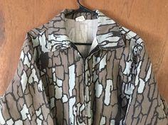 TreeBark Camo Camouflage Vintage Full Zip Light Jacket Coat 1980 Bowing Hunting
