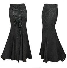 CST Brokat Gothic Rock Bodenlang Schnürung Lolita Steampunk Viktorian fishtail