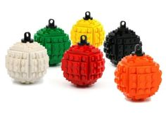 lego ornaments - Though these may resemble mini hand grenades, these LEGO ornaments will light up a tree for the fans of the popular building toys. These LEGO orna. Lego Christmas Ornaments, Noel Christmas, Ball Ornaments, Christmas Crafts, Christmas Decorations, Lego Decorations, Xmas, Deco Lego, Lego Craft