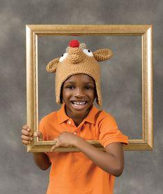Rudie Reindeer crochet hat free pattern #redheartyarn
