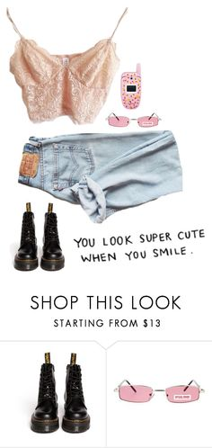 """you look super cute when you smile"" by trashyychanel ❤ liked on Polyvore featuring Dr. Martens, Samsung and vintage"
