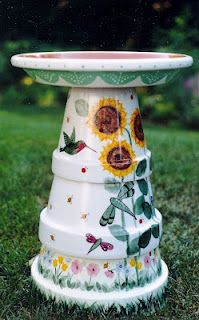DYI Bird Bath!!! Such a cool idea