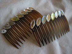 Crystal acrylic stones hair combs Handmade  Ready to by Primeline, $11.50