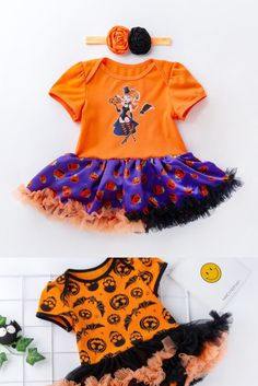 Baby romper for Halloween! Dress your girl and your moments. Easy snap closure and 9 different romper styles! From pumpkin, witches and more. You will find it at 19.95 + Free shipping Halloween Dress, Baby Halloween, Halloween Pumpkins, Yarn Sizes, Your Girl, Daily Wear, Pageant, Witches, Baby Dress