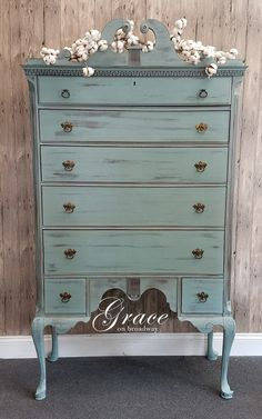 Queen Anne Highboy refinished im Dixie Belle Paint in Vintage Duck Egg
